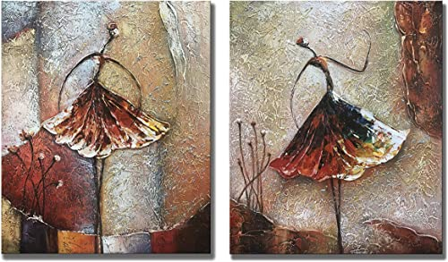 zoinart Ballet Dancers 2 Pieces 24x20inch Modern Canvas Painting Artwork 100 Hand Painted Abstract Oil Paintings Canvas Wall Art for Home Decoration Wall Decor Ready to Hang