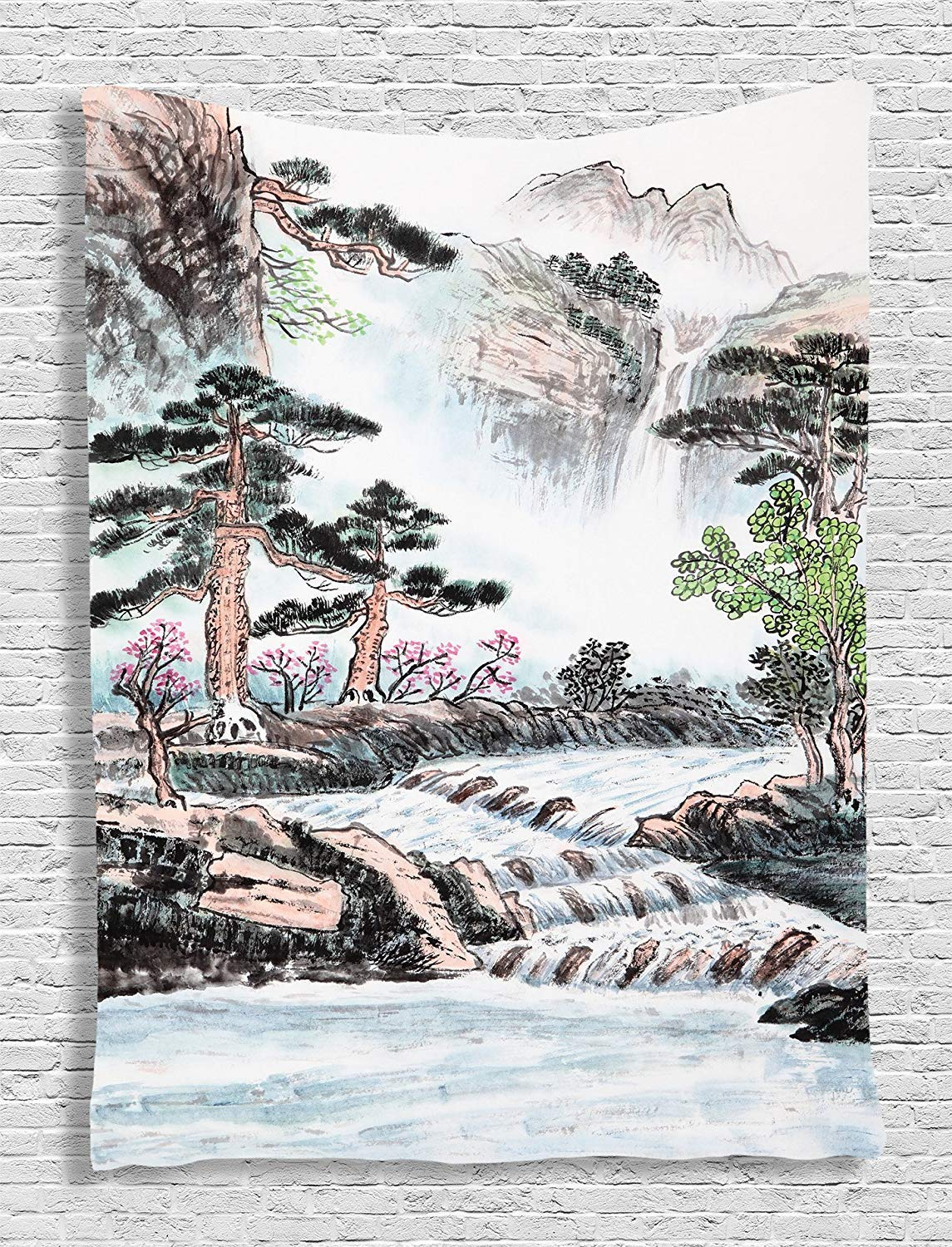 Ambesonne pencil drawing decor collection mountain and river painting effect pine trees floral design bedroom living kids girls boys room dorm accessories