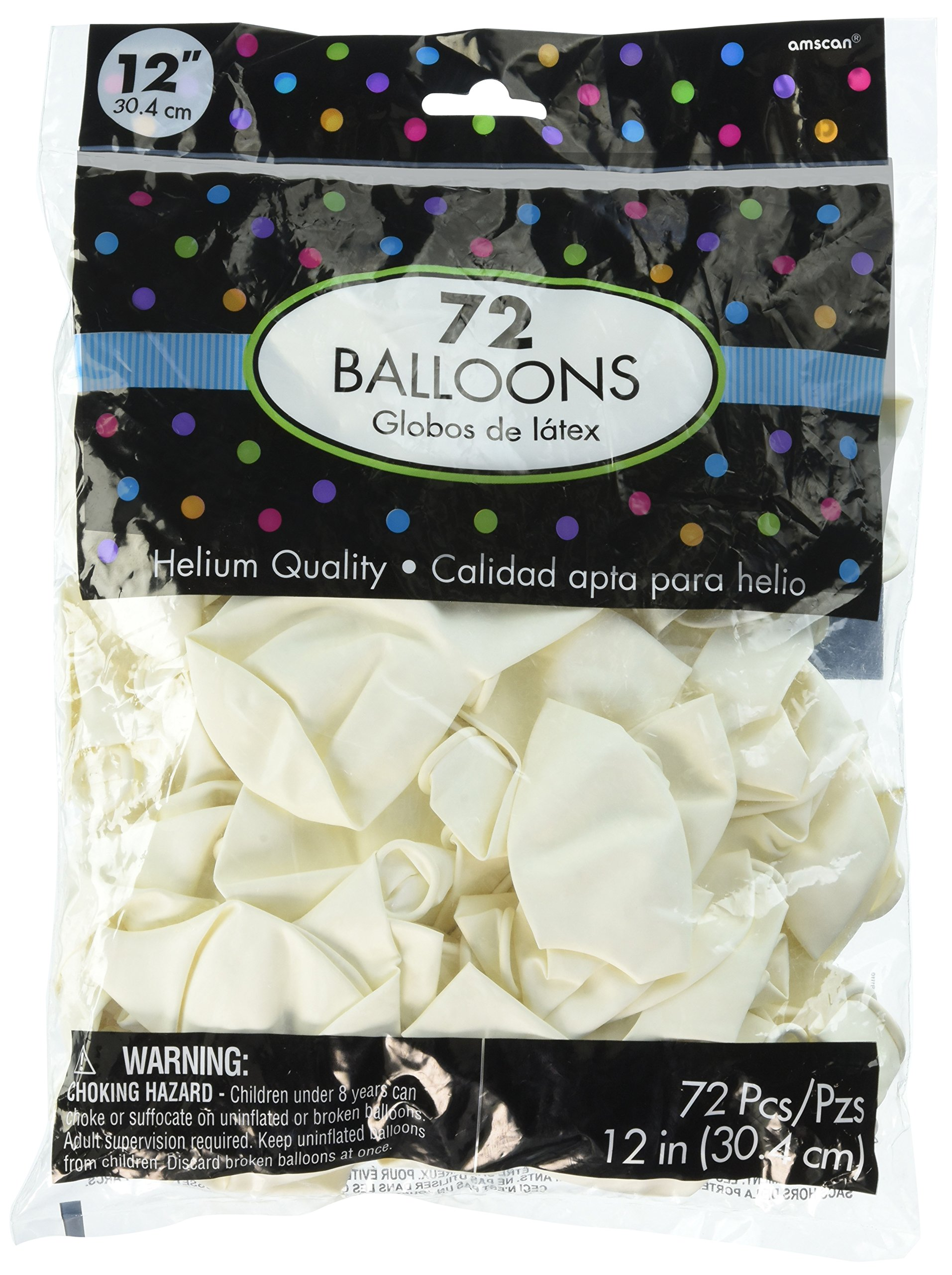 Solid Color Latex Balloons   White   Pack of 72   Party Decor