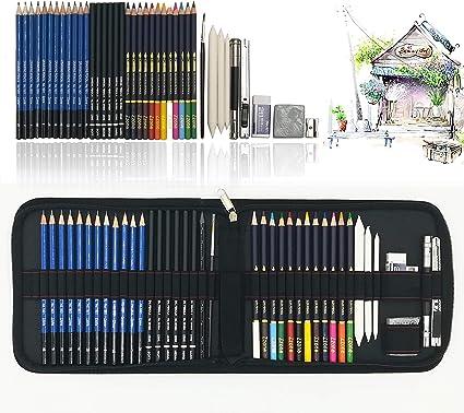 41 Piezas Set Dibujo Artistico Con Lapices Acuarelables, Lapices De Dibujo, Lapiz Grafito En Cartuchera Lapices para Colorear Libros Y Páginas, El mejor regalo para estudiantes, niños: Amazon.es: Oficina y papelería