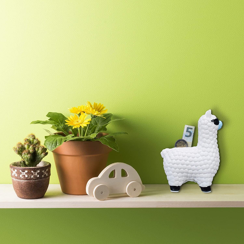 Relaxdays Salvadanaio a Forma di Lama Contenitore Porta Soldi in Ceramica Idea Regalo e Decorazione Bianco con Occhiali da Sole HxLxP: 15,5 x 11 x 6 cm