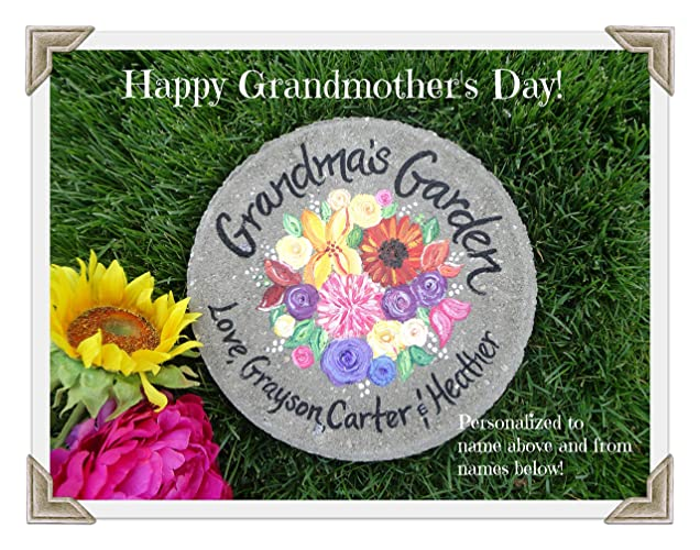 Grandmother Gift HAND PAINTED GARDEN STONES Mother Birthday Garden For Mom Wildflowers Painted Ideas