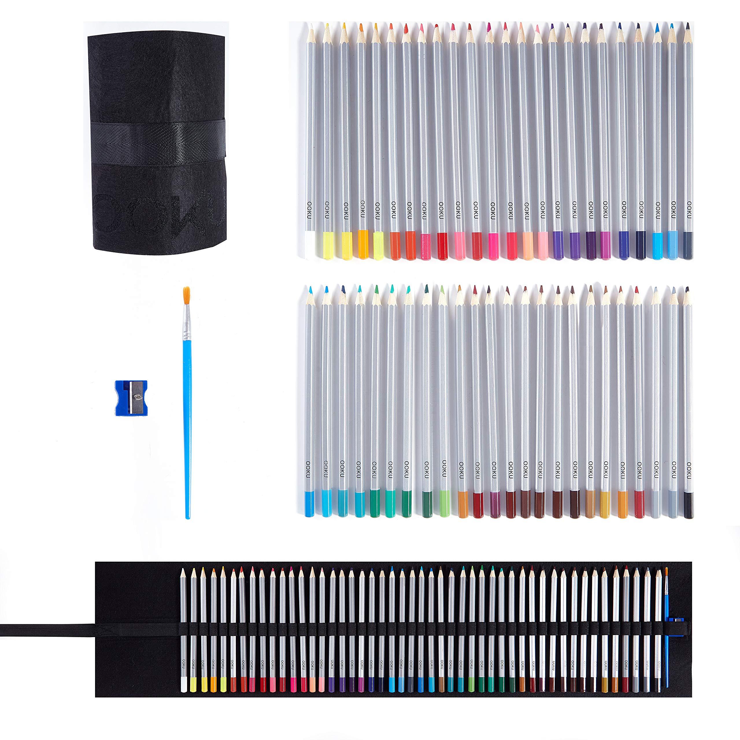 OOKU Watercolor Pencils Artist Set - 48 Dry Coloring Pencils/Wet Watercolor Painting - BONUS Wool Pencil Canvas Wrap, Watercolor Brush, Pencil Sharpener for FULL 51 Piece Kit by OOKU