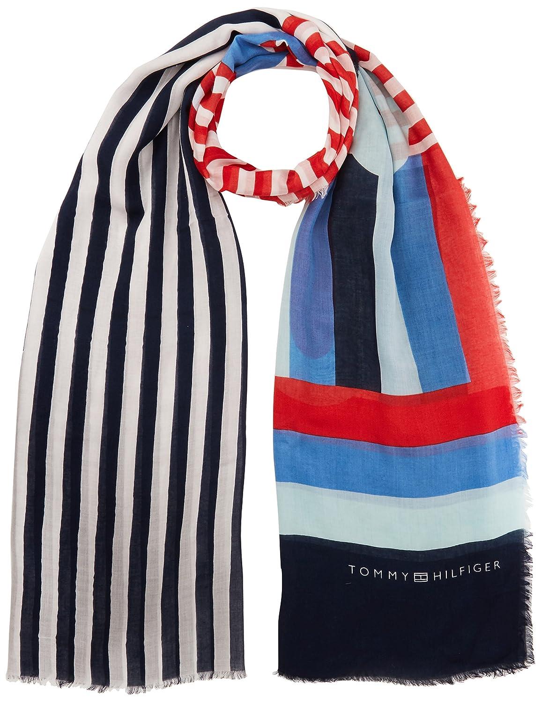 Tommy Hilfiger Spring Stripe Print Scarf Bufanda, Negro (Corporate 901), única (Talla del Fabricante: OS) para Mujer