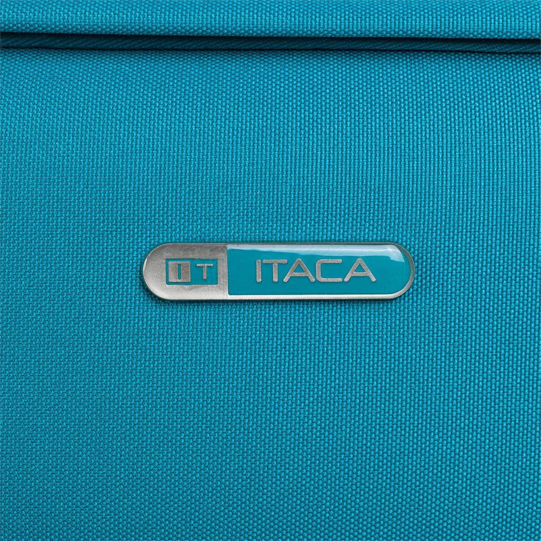 T71950 Valigia trolley 50 cm cabina poliestere EVA Maniglia telescopica Color Cowboy blu leggera e resistente Semi-rigida Bagaglio a mano 2 ruote Voli low cost ITACA 2 maniglie