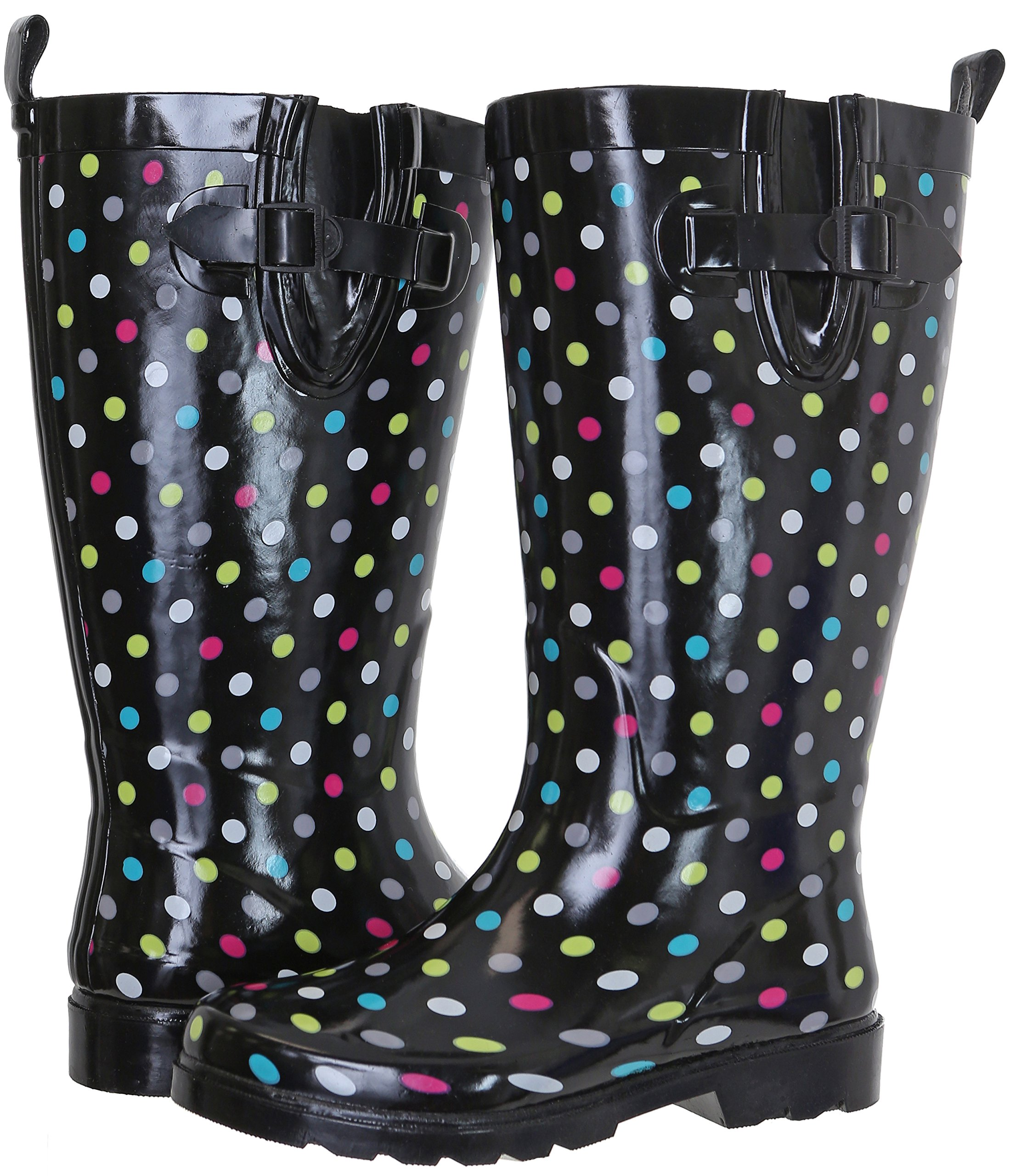 Capelli New York Ladies Shiny with Dots Tall Rubber Rain Boot Multi Rainbow Combo 11