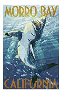 Morro Bay, California - Stylized Sharks (20x30 Premium 1000 Piece Jigsaw Puzzle, Made in USA!)