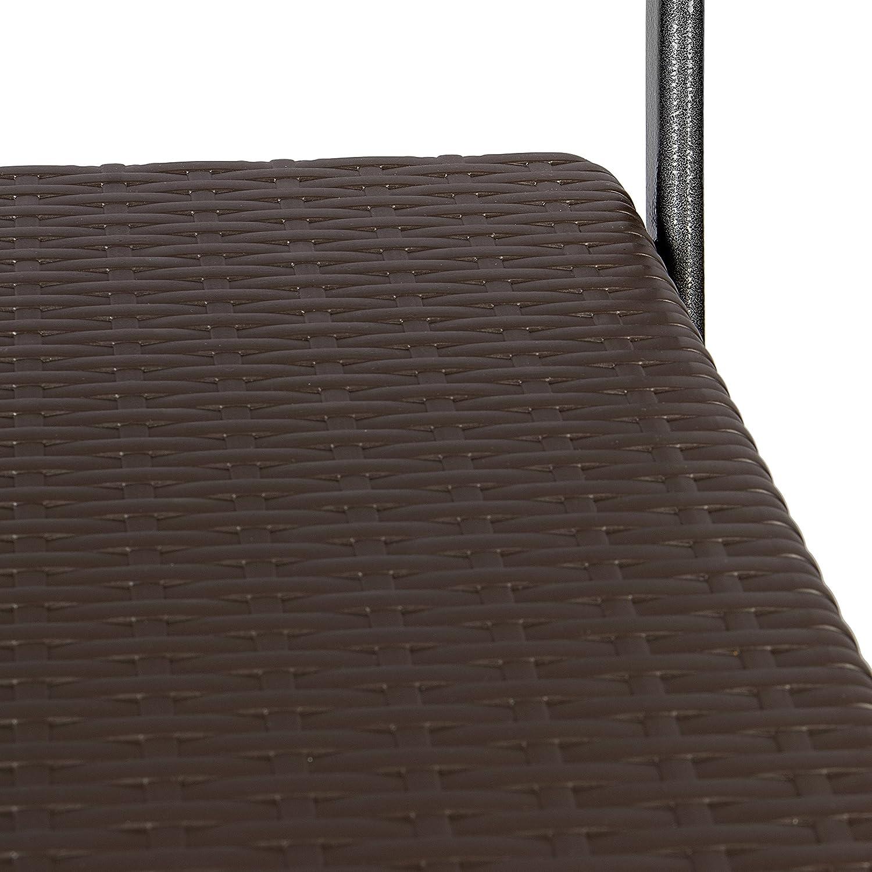 Colore Marrone Ideale per Esterni Sedia in Acciaio e Plastica HDPE Effetto Legno Park Alley Sedie da Giardino Set da 2 Giardino o Balcone