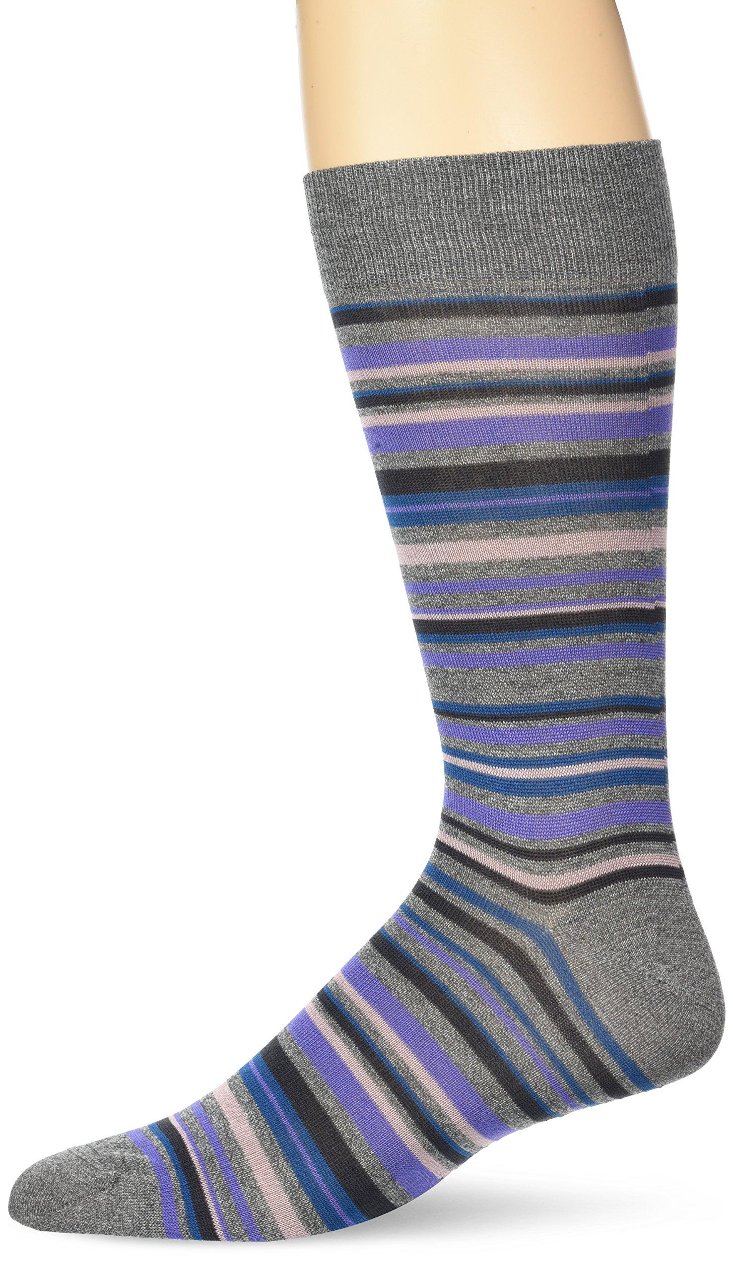 BUGATCHI Men's Mercerized Cotton Fine Stripes Sock, Steel, ONE