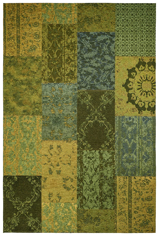 Moderner Teppich Vintage my Milano 571 grau, rot, gelb, grün, pink, rosa shabby look,used look , Flachgewebe, Patchwork (155 x 230 cm, MIL 571 grün gelb)
