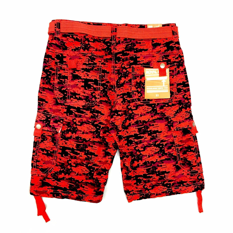 Mens Royal Blue Red Digital Camo Cargo Shorts (34)  6ef9923d0b7