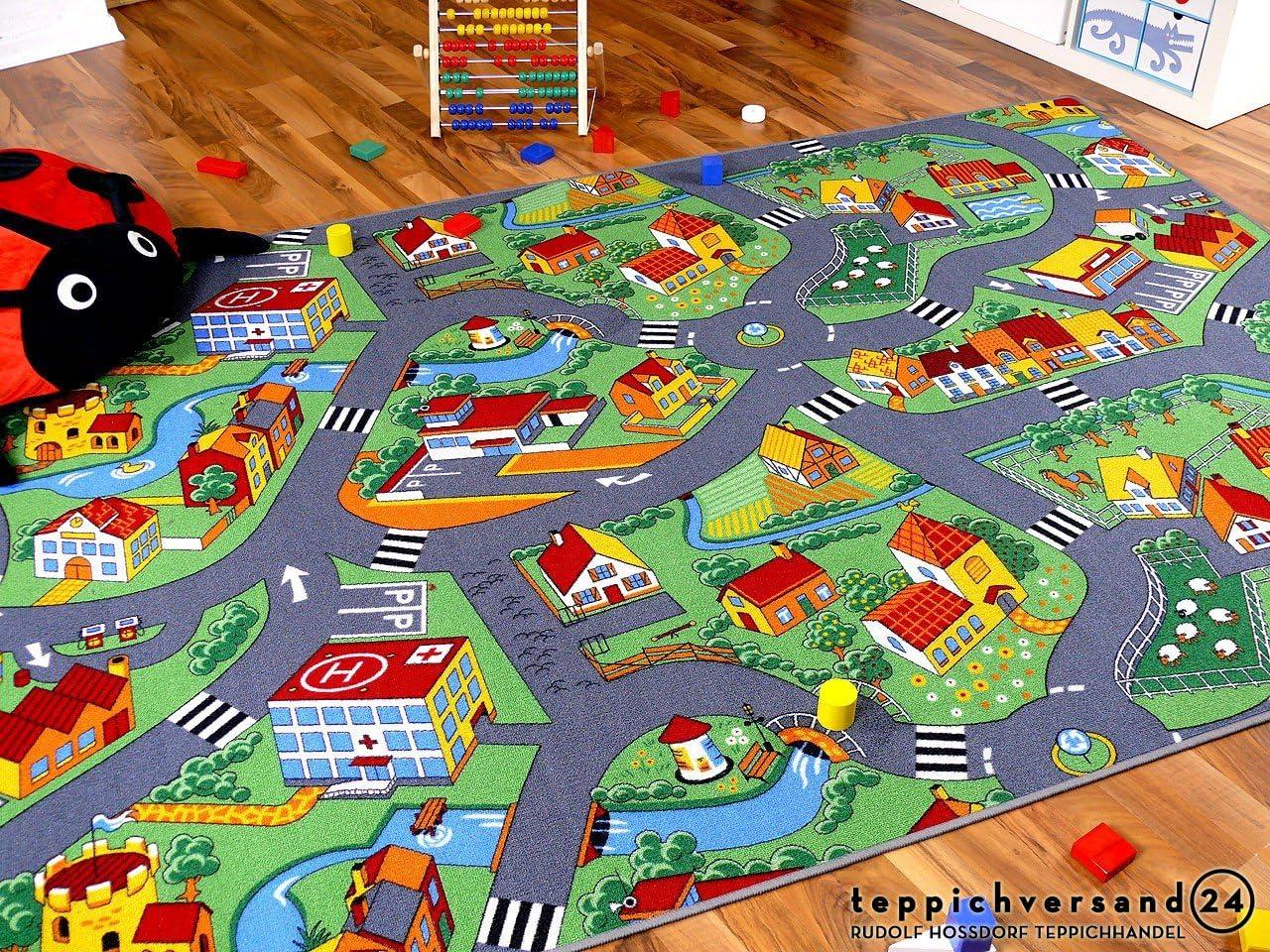 Snapstyle Alfombra Carretera Infantil de Juegos - Pueblo pequeño - Verde - 17 tamaños