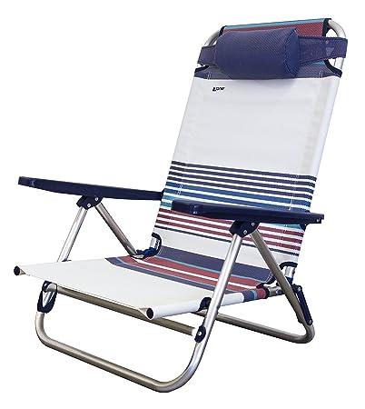SEDIA SDRAIO MARE Spiaggina ACCIAIO e TEXTILENE per spiaggia giardino campeggio Azzurro
