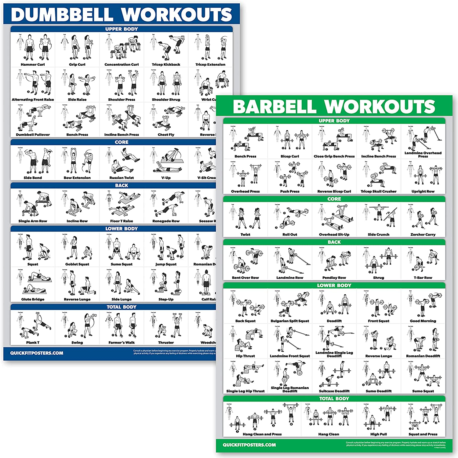 QuickFit Dumbbell Workouts and Barbell Exercise Poster Set - Laminated 2 Chart Set - Dumbbell Exercise Routine & Barbell Workouts