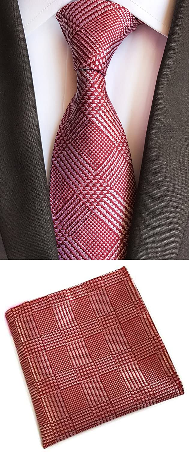 MOHSLEE Mens Red Plaid Striped Suit Tie Handky Classic Necktie Pocket Square Set