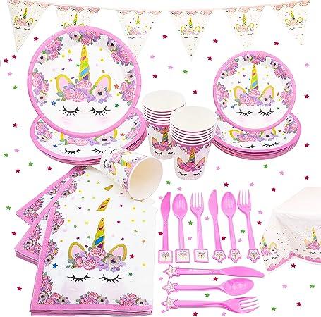 Unicornio juego de fiesta sirve 16 cumpleaños Party Pack Suministros Niñas Decoraciones Kit: Amazon.es: Hogar