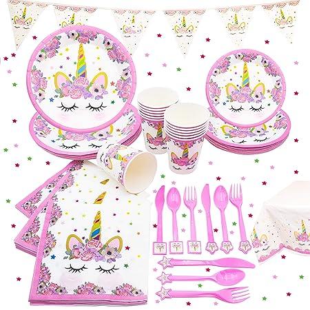 Unicornio juego de fiesta sirve 16 cumpleaños Party Pack ...