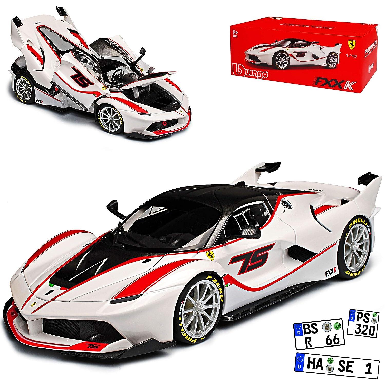 Bburago Ferrari FXX K Coupe Weiss mit Rot Nr 75 Signature Serie 18-16907 1/18 Modell Auto