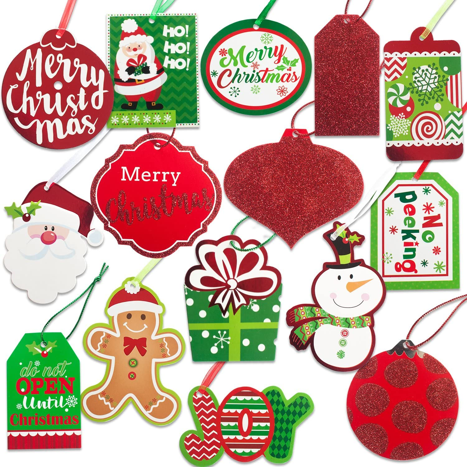 Christmas Gift Tags 60 Count with Untied String (15 Assorted Glitter, Foil, Printed Designs for DIY Xmas Present Wrap and Label Package Name Card): Garden & Outdoor