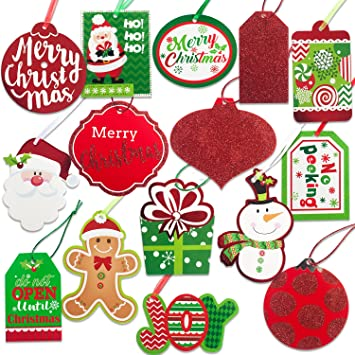 Amazon.com: Christmas Gift Tags 60 Count with Untied String (15 ...