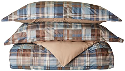cebddc91f1 Woolrich White River King Size Bed Comforter Set - Grey Blue, Plaid - 3  Pieces