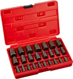"Neiko 04204A Hex Head Multi-Spline Screw and Bolt Extractor Set | 25-Piece Set | 1/8"" to 7/8"" by 1/32"" Increment"