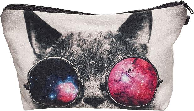 Galaxy Gafas de Sol Gato Make UP Bolsa Funda cosméticos Estuche Escolar diseño Hipster Instagram Emoji: Amazon.es: Equipaje