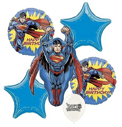 Man Of Steel Superman Birthday Party Decorations Balloon Bouquet Bundle