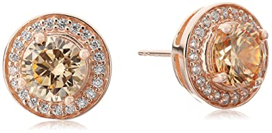 0d25f5baa933a 14k Rose Gold Plated Sterling Silver Champagne Cubic Zirconia and White  Cubic Zirconia Halo Stud Earrings