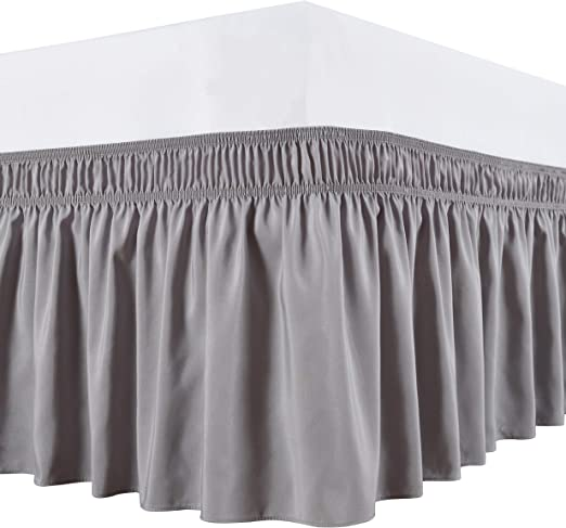 Amazon.com: Biscaynebay Wrap Around Bed Skirts Elastic Dust
