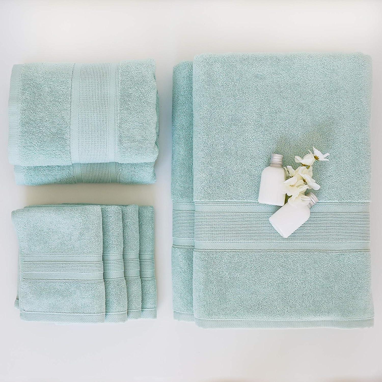 LUZIA 8 Piece Towel Set - 100% Turkish Cotton, Premium Quality - 2 Bath Towels 2 Hand Towels and 4 Washcloths (Glacier)