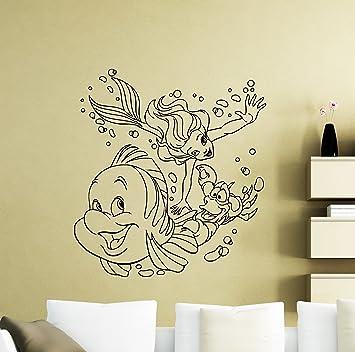 Amazon.com: Ariel Mermaid Wall Vinyl Decal Disney Cartoon Flounder ...