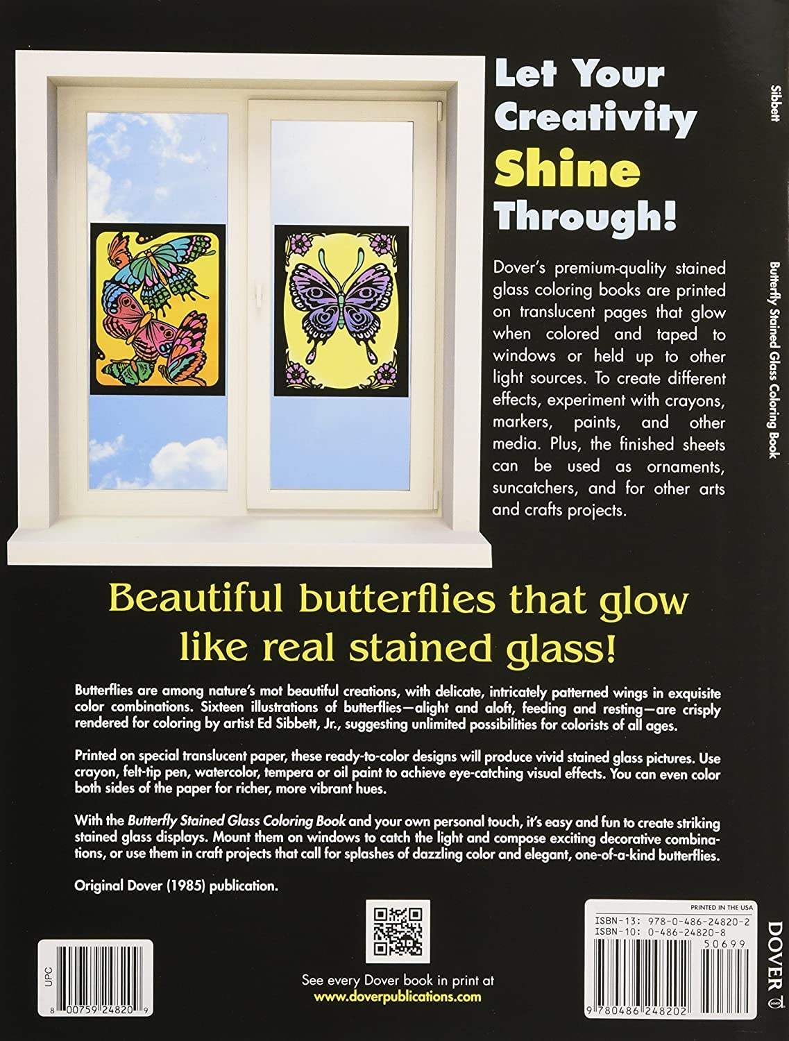 Stained glass butterfly coloring pages - Amazon Com Dover Publications Butterfly Stained Glass Coloring Bk Ed Sibbett Jr Arts Crafts Sewing