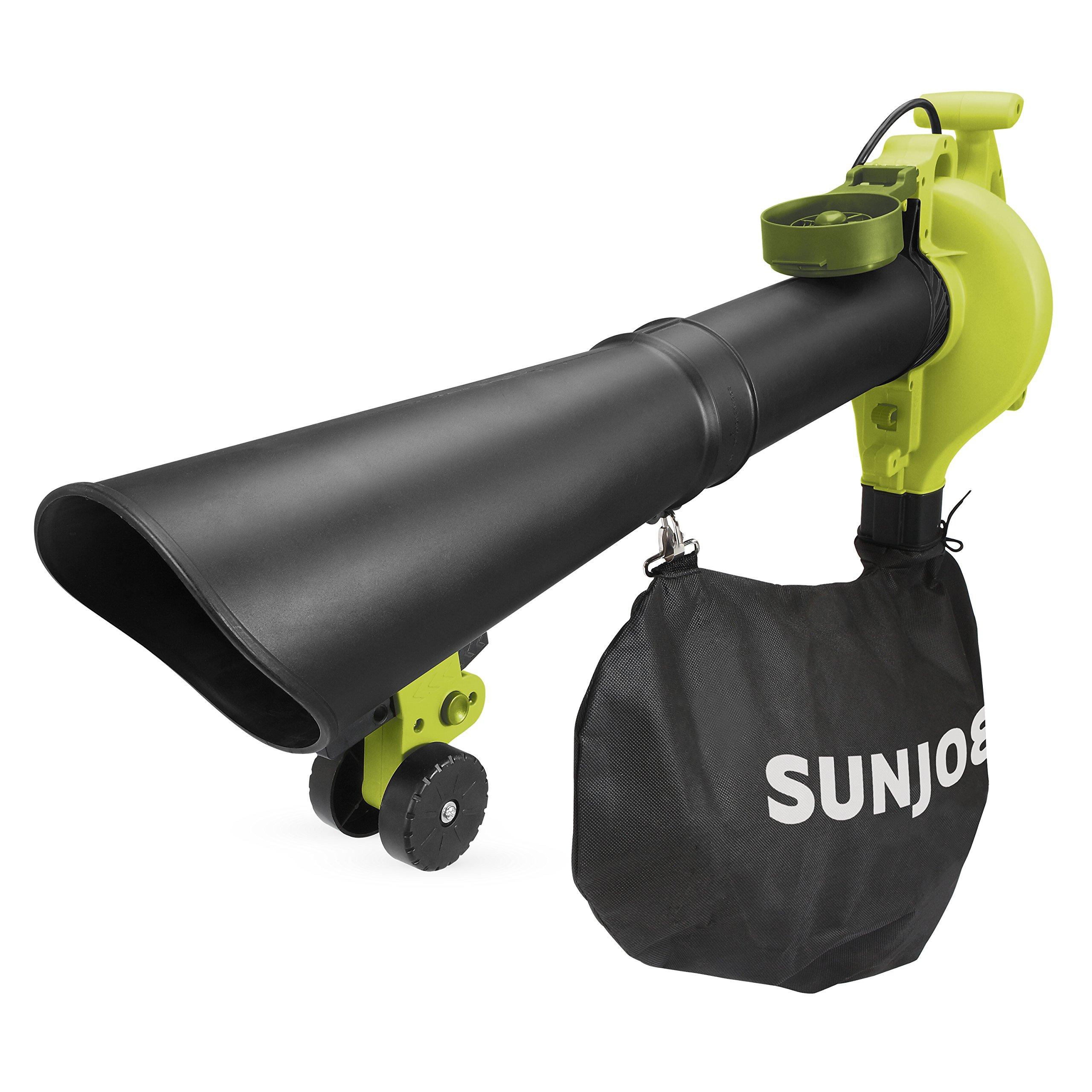 Sun Joe SBJ606E-GA-SJG 4-in-1 Electric Blower | 250 MPH 14 Amp | Vacuum Mulcher Gutter Cleaner