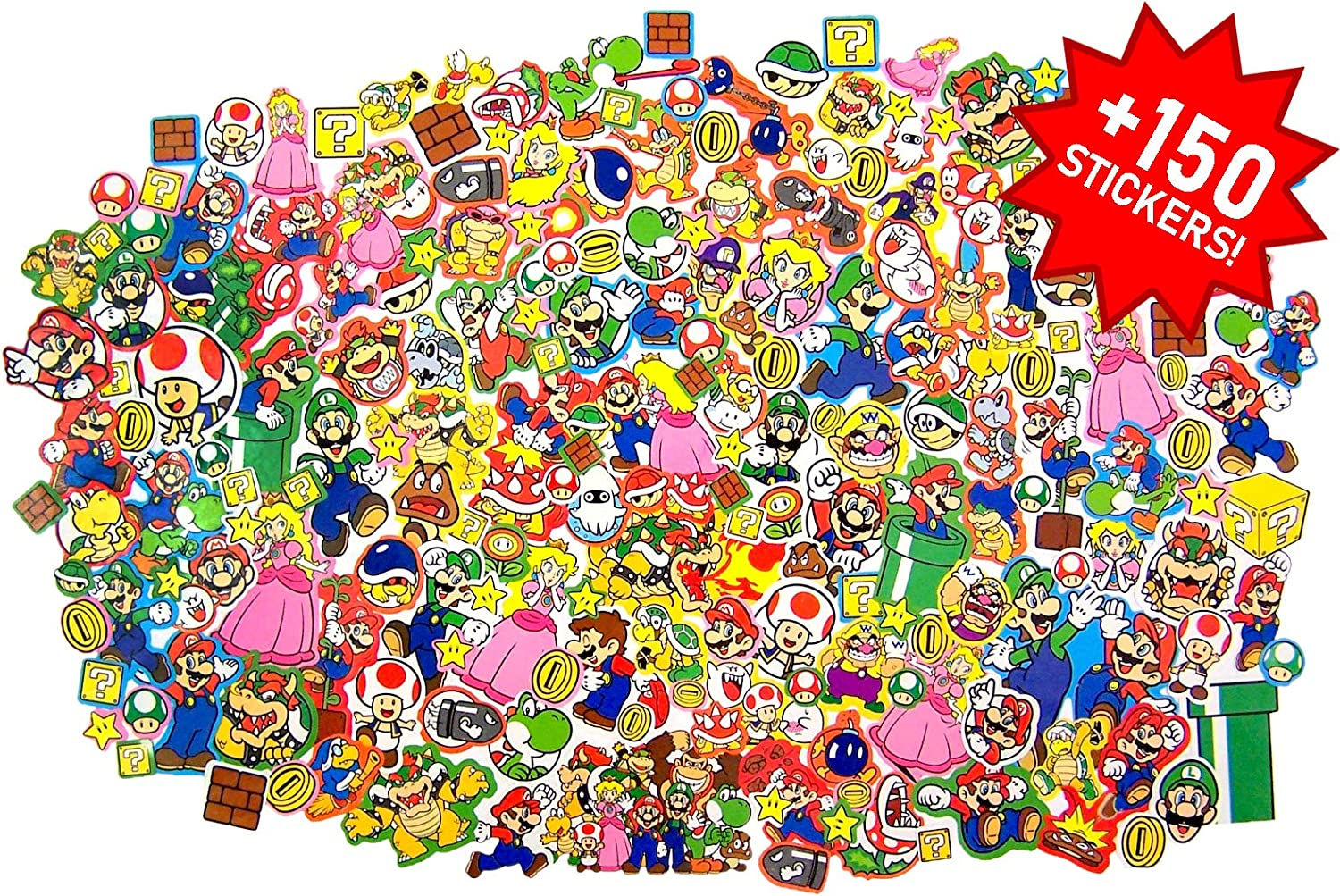 Assorted Super Mario Sticker Roll Gift Box for Journals, Planners, Laptops, Scrapbook, 150 Count