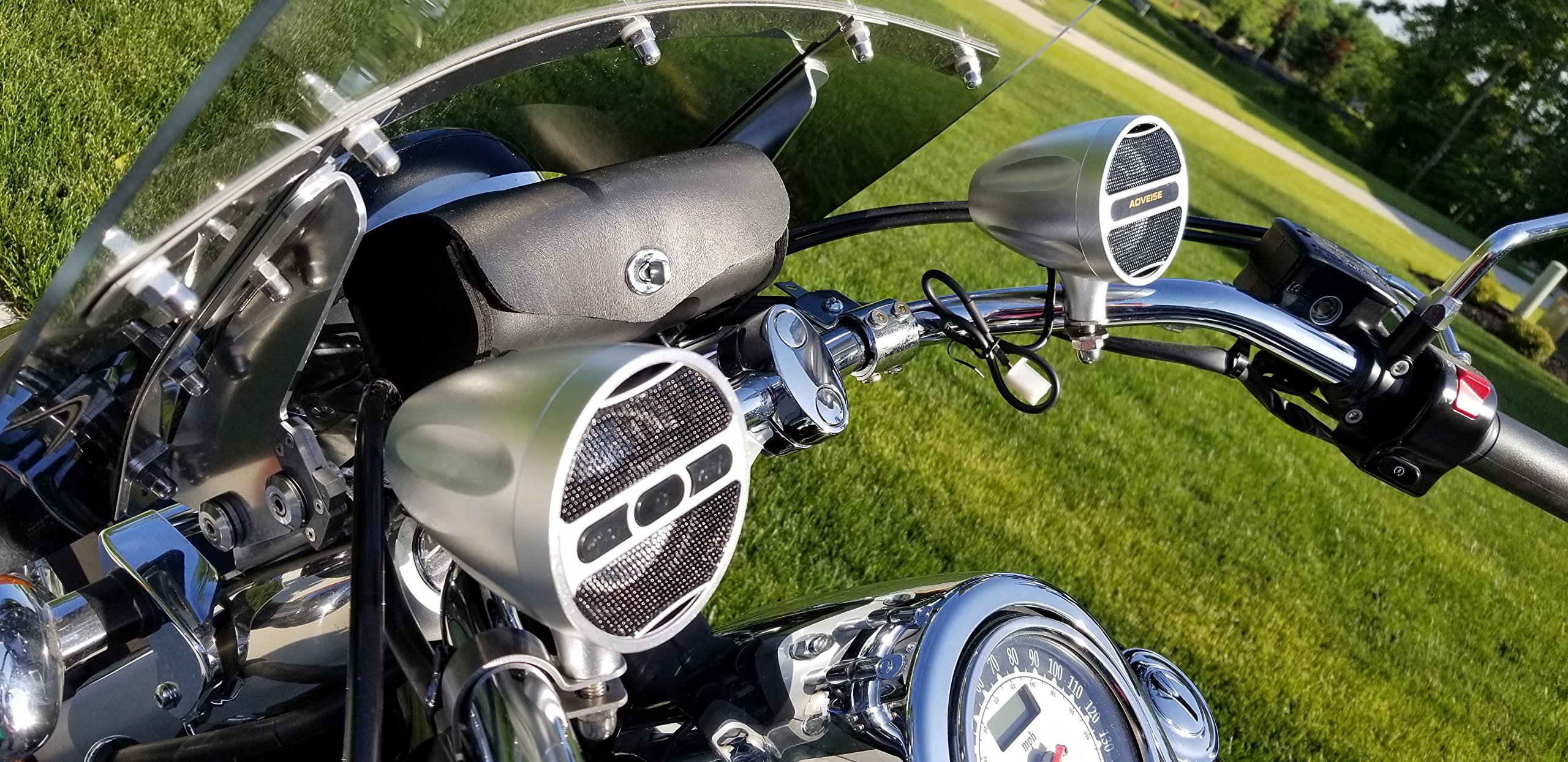 Firehouse Technology Boost Bluetooth Motorcycle Stereo Speaker System. 3'' Speaker, Built in Amp, Simple Install on all Bikes and ATV (Chrome)