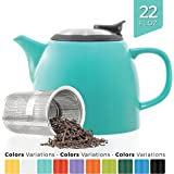 Tealyra - Drago Ceramic Small Teapot Turquoise - 650ml (2-3 cups) - With Stainless Steel Lid and Extra-Fine Infuser for Loose Leaf Tea