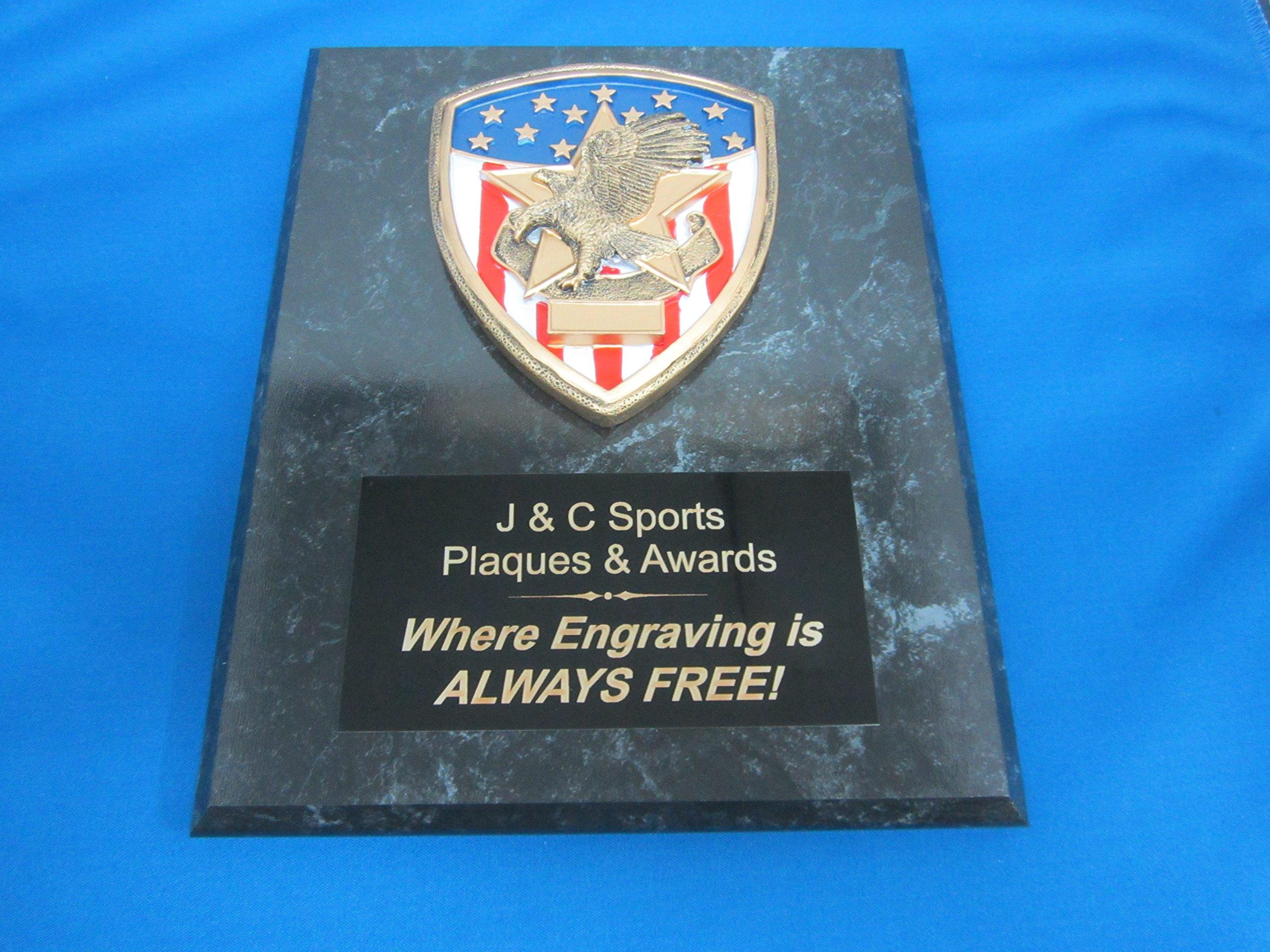 Citizenship Award Bronze Plaque 8''x10'' FREE CUSTOM ENGRAVING Black Marble Finish w/Plaque Mount