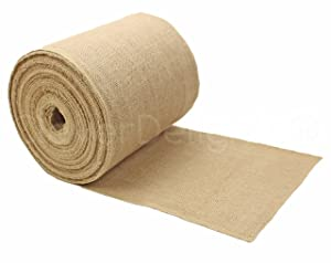 "CleverDelights 9"" Premium Burlap Roll - 50 Yards - No-Fray Finished Edges - Natural Jute Burlap Fabric"