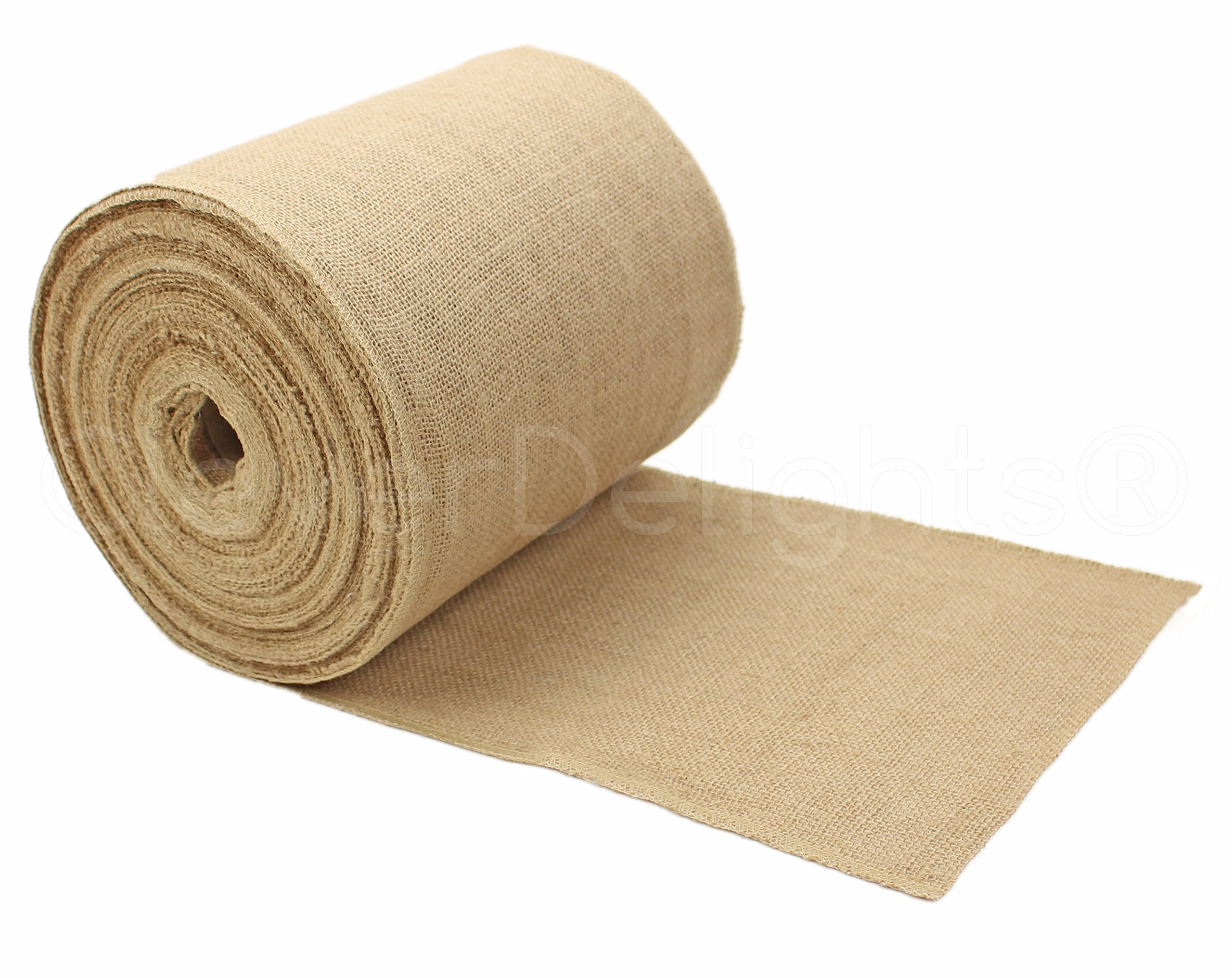 CleverDelights 9'' Premium Burlap Roll - 50 Yards - No-Fray Finished Edges - Natural Jute Burlap Fabric