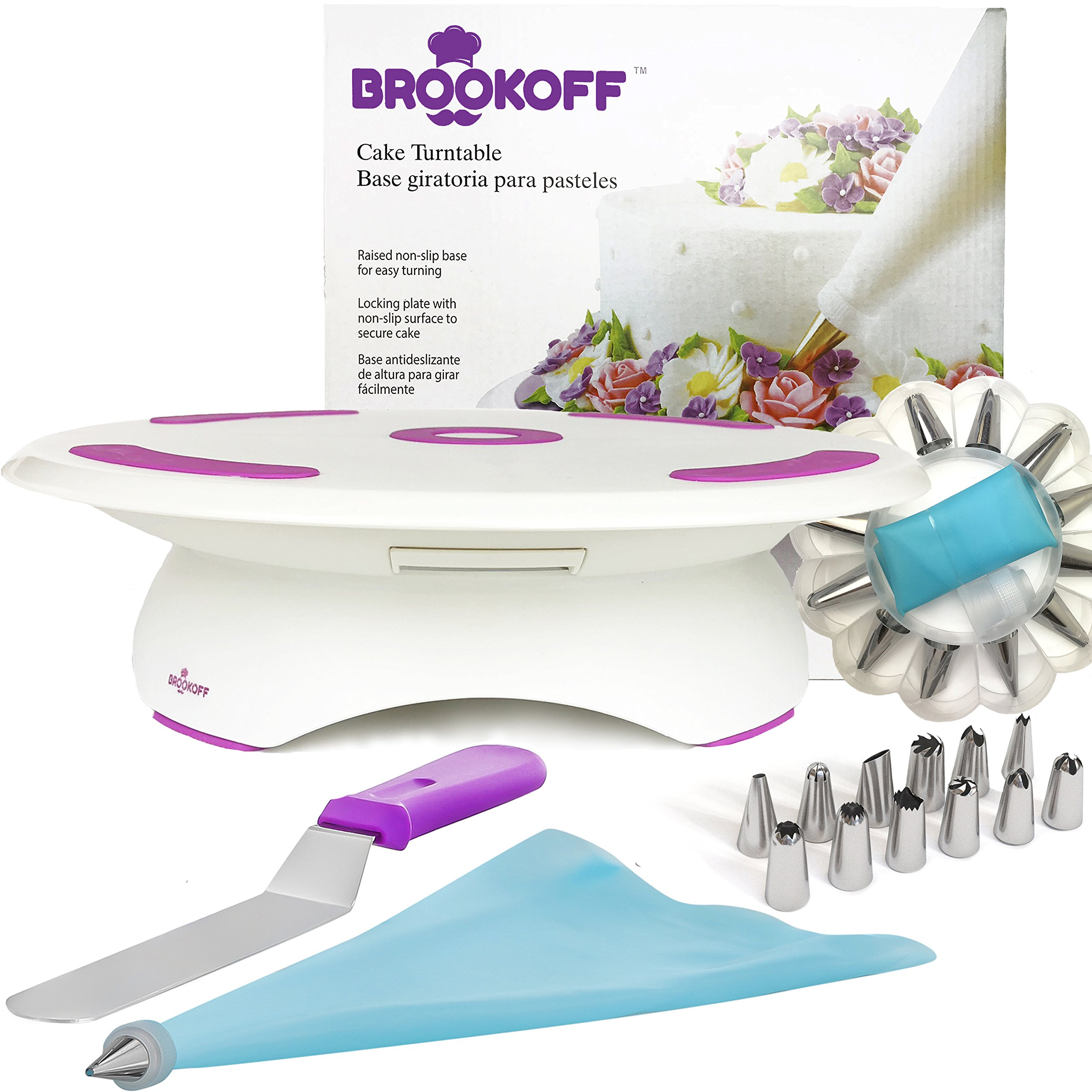 Cake Decorating Kit, Cake Turntable with Spatula, Icing Tips and Icing Bags, Decorating Supplies from Materials, Cake Stand with Lock and Rubberized Bottom