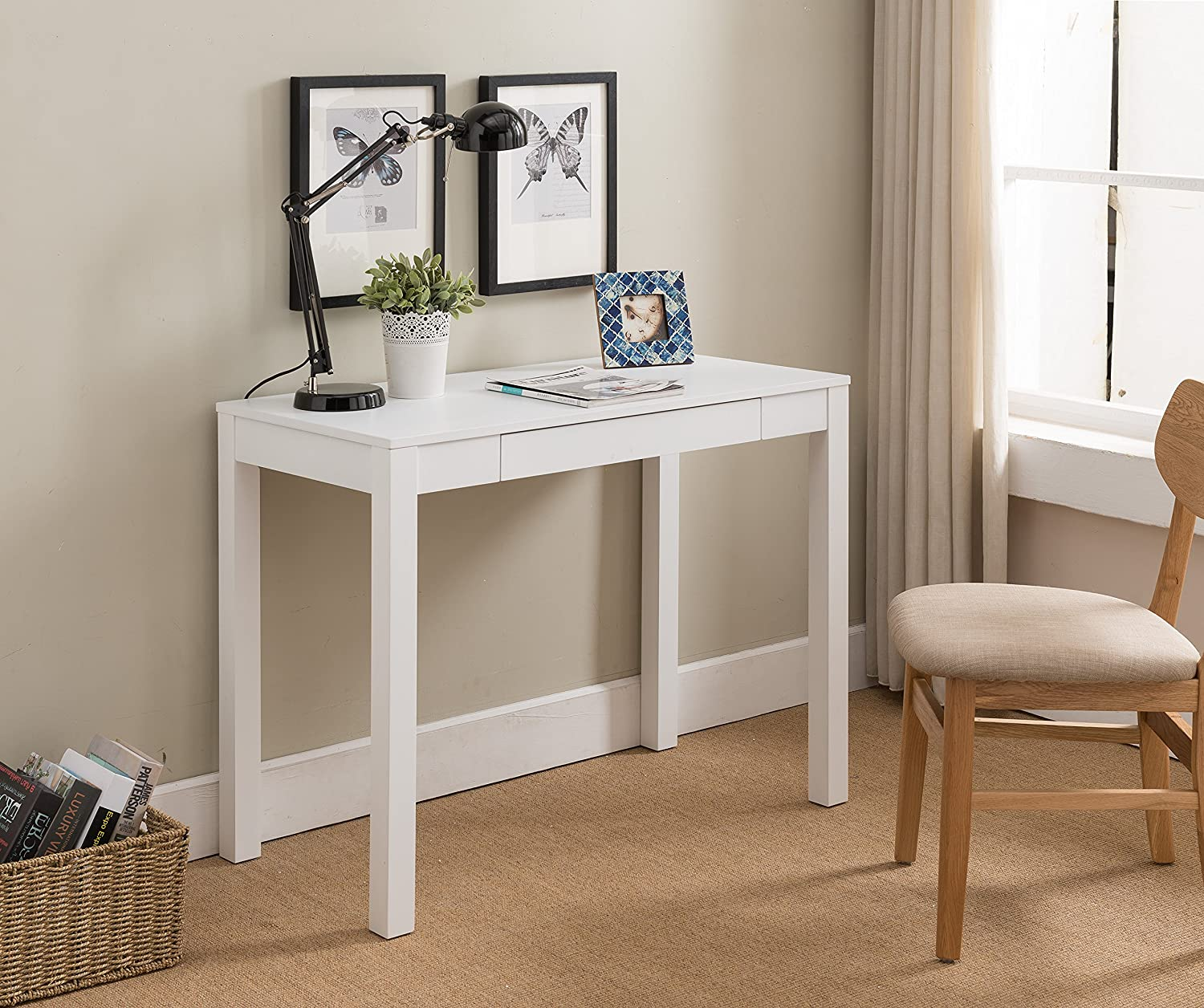 Amazon com kings brand furniture white finish wood single drawer parsons desk kitchen dining