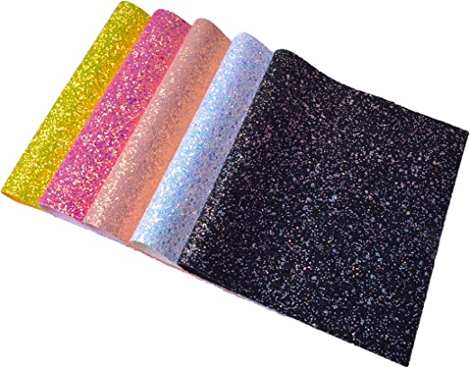 CHUNKY MIXED GLITTER SEQUIN FABRIC SIZE A4  BOWS//CRAFTS CHOICE OF COLOURS