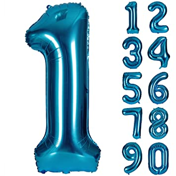 Amazon.com: Globo con números azules de 40 pulgadas para ...