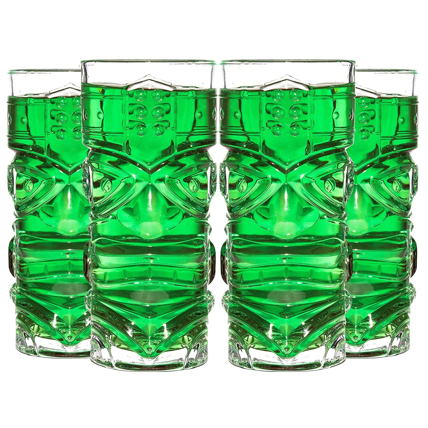 CKB Ltd® Pack of 4 TIKI Bar Cocktail Glasses - Ideal for a Cocktail Rum-Based Mixed Drink Mai Tai Long Island Iced Tea or Zombie Cocktails