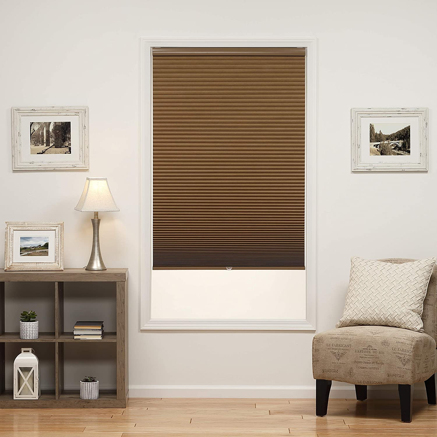 DEZ Furnishings QELTWT580640 Cordless Blackout Cellular Shade 58W x 64L Inches Latte