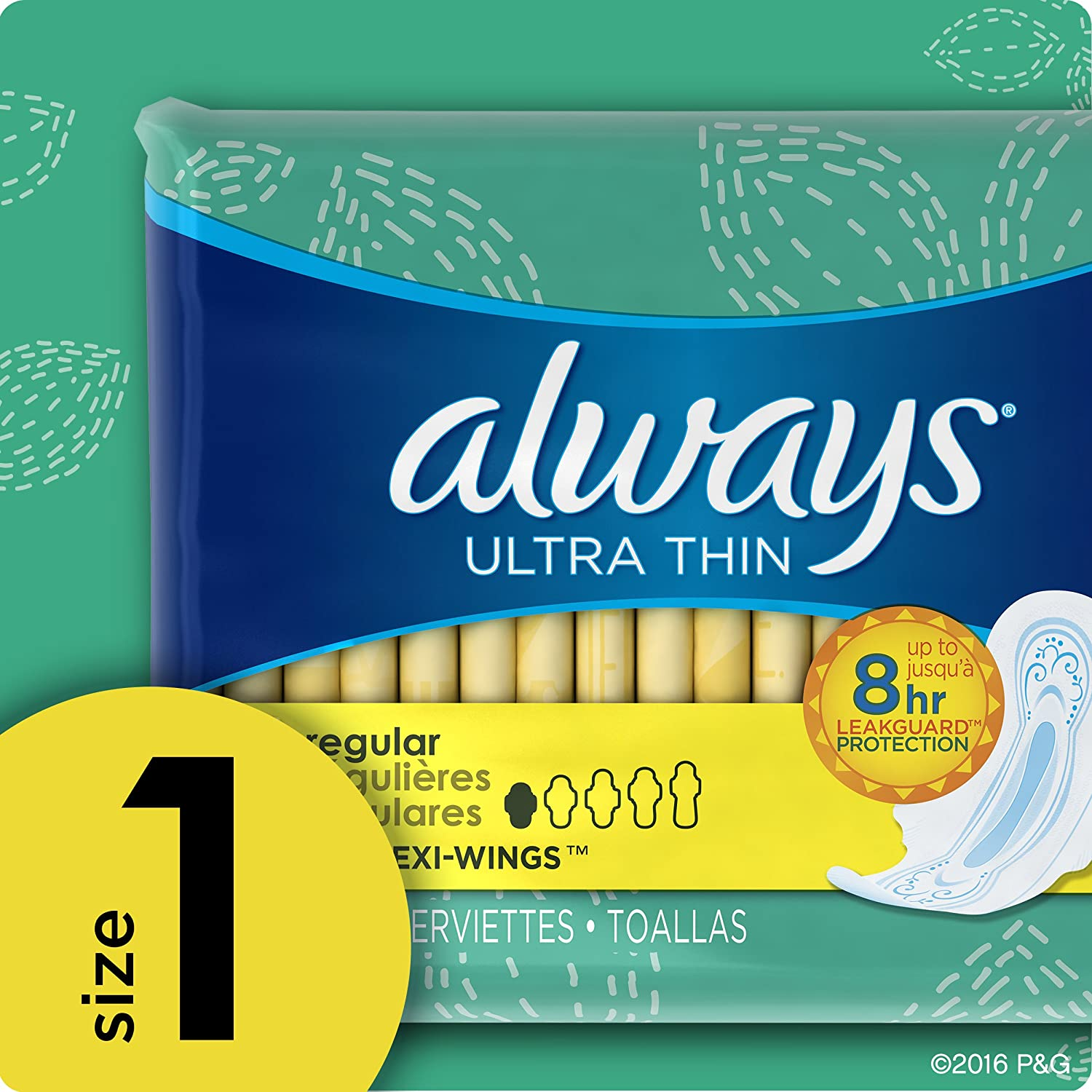 Amazon.com : Always Ultra Thin Feminine Pads for Women, Size 1, Regular Absorbency, with Wings, Unscented, 36 Count : Grocery & Gourmet Food