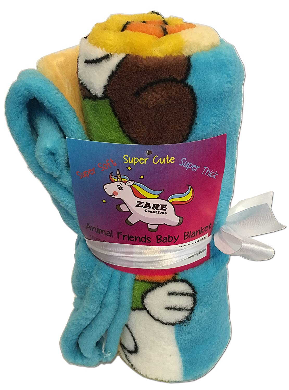 Zare Creations Babyブランケット、動物友達印刷、30 x 40厚ソフトポリエステルフリースNursery Receiving Blanket   B071ZLC4RH