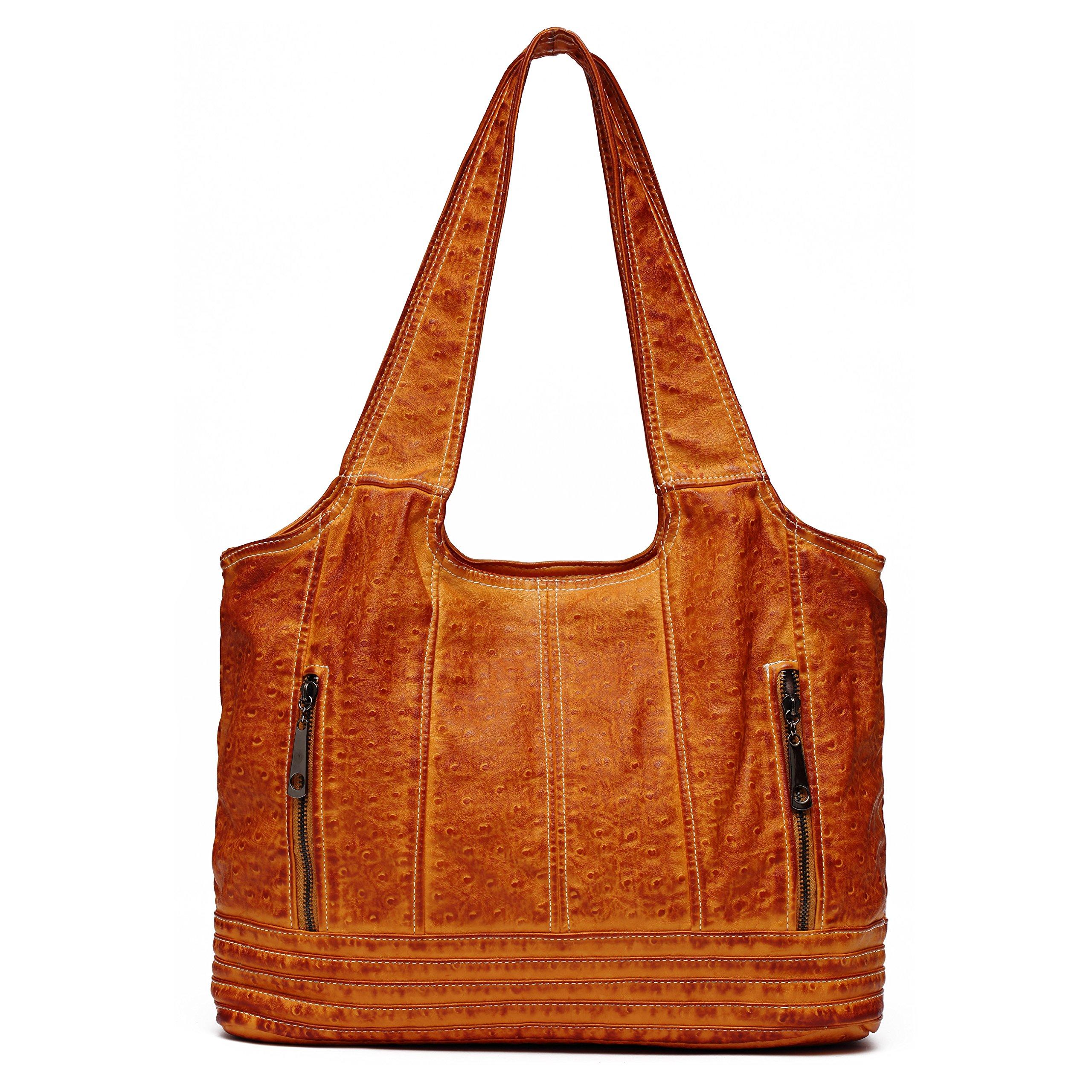 Ali Victory Large Women Hobo Shoulder Bags PU Leather Handbags Fashion Tote (Brown)