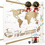 NIVI Scratch Off World Map (X-Large) International Travel Poster with Frame | 33 x 23 Inches | Country Flags, Continents…